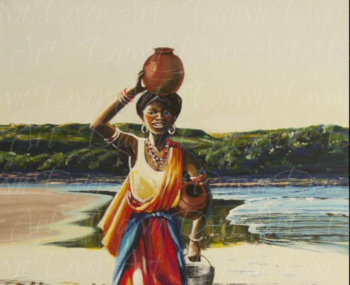 Woman on Wet Sand Carrying Clay Pot