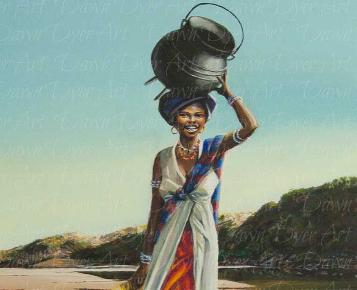 Woman at River Mouth With Pot